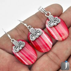 43.86cts NATURAL PINK BOTSWANA AGATE 925 SILVER PENDANT EARRINGS SET G56505
