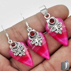 NATURAL PINK BOTSWANA AGATE 925 SILVER PENDANT EARRINGS SET JEWELRY G56502