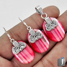 NATURAL PINK BOTSWANA AGATE 925 SILVER PENDANT EARRINGS SET JEWELRY G56506