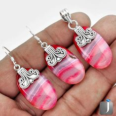 NATURAL PINK BOTSWANA AGATE 925 SILVER PENDANT EARRINGS SET JEWELRY G56508