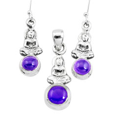 Natural purple amethyst 925 silver buddha charm pendant earrings set p38522