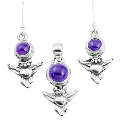 5.62cts natural purple amethyst 925 silver owl pendant earrings set p38541
