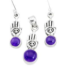 Natural purple amethyst silver hand of god hamsa pendant earrings set p38632