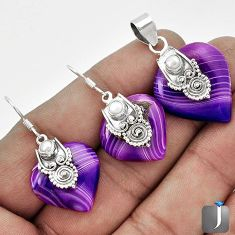 NATURAL PURPLE BOTSWANA AGATE 925 SILVER PENDANT EARRINGS SET JEWELRY G56513