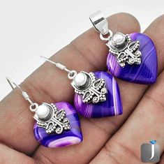 NATURAL PURPLE BOTSWANA AGATE 925 SILVER PENDANT EARRINGS SET JEWELRY G56514