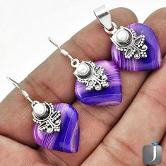 NATURAL PURPLE BOTSWANA AGATE 925 SILVER PENDANT EARRINGS SET JEWELRY G56515