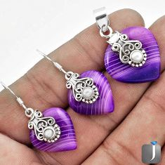 NATURAL PURPLE BOTSWANA AGATE 925 SILVER PENDANT EARRINGS SET JEWELRY G56517