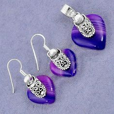 NATURAL PURPLE BOTSWANA AGATE 925 STERLING SILVER PENDANT EARRINGS SET H23388