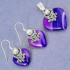 NATURAL PURPLE BOTSWANA AGATE PEARL 925 SILVER PENDANT EARRINGS SET H23385