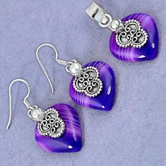 NATURAL PURPLE BOTSWANA AGATE PEARL 925 SILVER PENDANT EARRINGS SET H23386