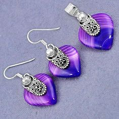 NATURAL PURPLE BOTSWANA AGATE PEARL 925 SILVER PENDANT EARRINGS SET H23389