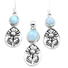 9.47cts natural rainbow moonstone 925 silver flower pendant earrings set p38563