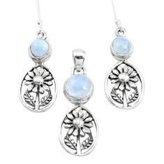 7.41cts natural rainbow moonstone 925 silver flower pendant earrings set p38629