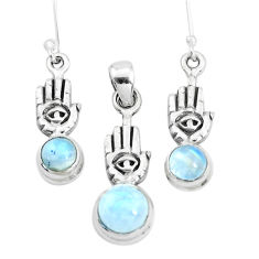 Natural rainbow moonstone 925 silver hand of god pendant earrings set p38527
