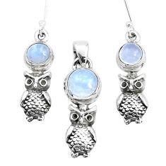 6.92cts natural rainbow moonstone 925 silver owl pendant earrings set p38569