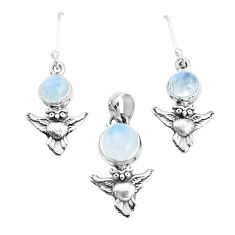 6.73cts natural rainbow moonstone 925 silver owl pendant earrings set p38606