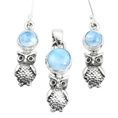 6.42cts natural rainbow moonstone 925 silver owl pendant earrings set p38616