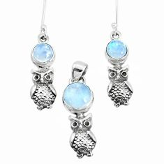 6.31cts natural rainbow moonstone 925 silver owl pendant earrings set p38637