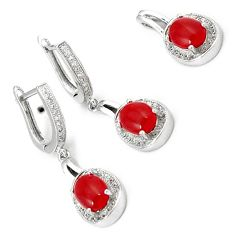 NATURAL RED ONYX TOPAZ 925 STERLING SILVER PENDANT EARRINGS SET JEWELRY H7837
