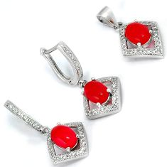 NATURAL RED ONYX WHITE TOPAZ 925 STERLING SILVER PENDANT EARRINGS SET H29506