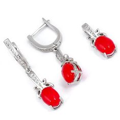 NATURAL RED ONYX WHITE TOPAZ 925 STERLING SILVER PENDANT EARRINGS SET H29519