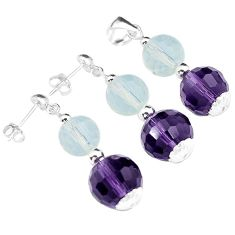 NATURAL WHITE OPALITE AMETHYST 925 SILVER PENDANT EARRINGS SET JEWELRY H29865