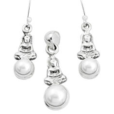 6.89cts natural white pearl 925 silver buddha charm pendant earrings set p38582