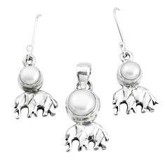 6.57cts natural white pearl 925 silver elephant pendant earrings set p38523