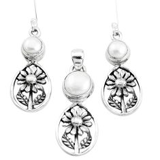 7.22cts natural white pearl 925 silver flower pendant earrings set p38656