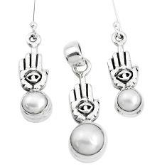 Natural white pearl 925 silver hand of gods hamsa pendant earrings set p38641