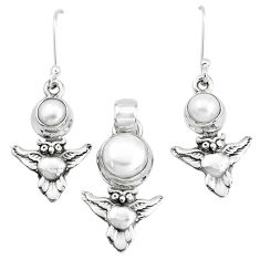 6.20cts natural white pearl 925 sterling silver owl pendant earrings set p38605
