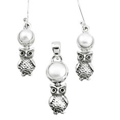 6.92cts natural white pearl 925 sterling silver owl pendant earrings set p38615