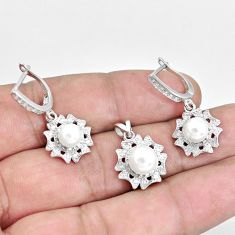 8.71cts natural white pearl 925 sterling silver pendant earrings set c1264