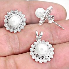 6.84cts natural white pearl 925 sterling silver pendant earrings set c1270