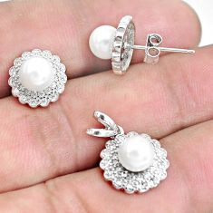 6.70cts natural white pearl 925 sterling silver pendant earrings set c1277