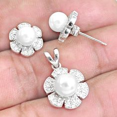 6.10cts natural white pearl 925 sterling silver pendant earrings set c1279