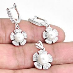 7.78cts natural white pearl topaz 925 sterling silver pendant earrings set c1233