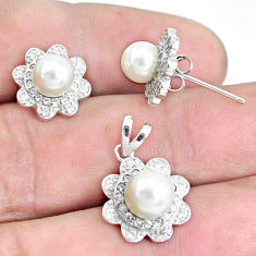 7.50cts natural white pearl topaz 925 sterling silver pendant earrings set c1236