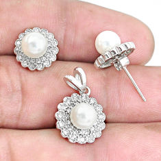 7.17cts natural white pearl topaz 925 sterling silver pendant earrings set c1240