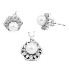 7.50cts natural white pearl topaz 925 sterling silver pendant earrings set c2600