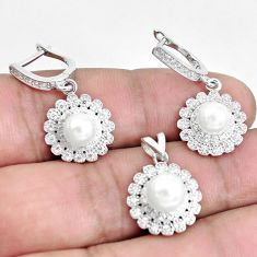8.42cts natural white pearl topaz round 925 silver pendant earrings set c1227
