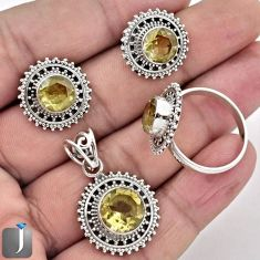 16.09cts NATURAL YELLOW CITRINE 925 SILVER PENDANT RING EARRINGS SET F36852