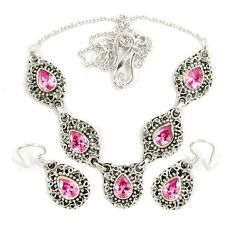 Pink kunzite (lab) 925 sterling silver earrings necklace set jewelry j9482