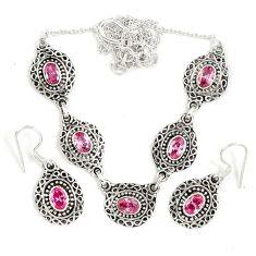 Pink kunzite (lab) 925 sterling silver earrings necklace set jewelry j9484