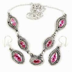 Pink kunzite (lab) 925 sterling silver earrings necklace set jewelry j9485