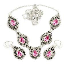 Pink kunzite (lab) 925 sterling silver earrings necklace set jewelry j9487