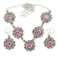 Pink kunzite (lab) 925 sterling silver earrings necklace set jewelry j9501