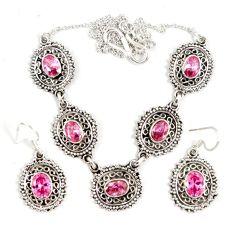 Pink kunzite (lab) oval shape 925 sterling silver earrings necklace set j9503