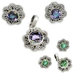 Purple alexandrite (lab) 925 sterling silver pendant earrings set jewelry h92348