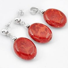 RARE BIG! RED SPONGE CORAL OVAL 925 STERLING SILVER PENDANT EARRINGS SET H41869